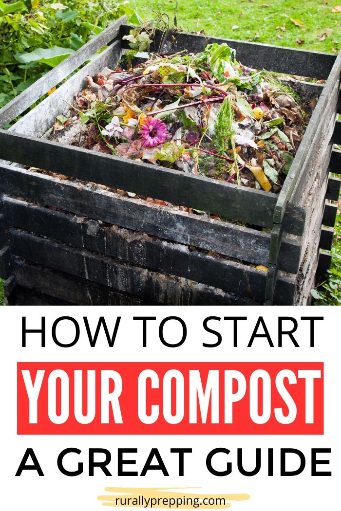 compost pallet bin full of compost items text at the bottom says how to start your compost a great guide